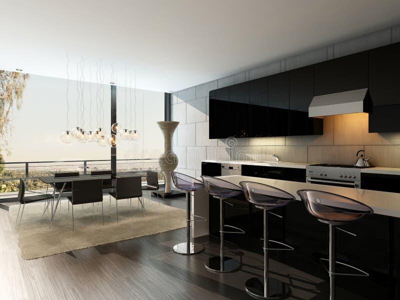 Черный интерьер кухни с барными стулами и обеденным столом иллюстрация вектора