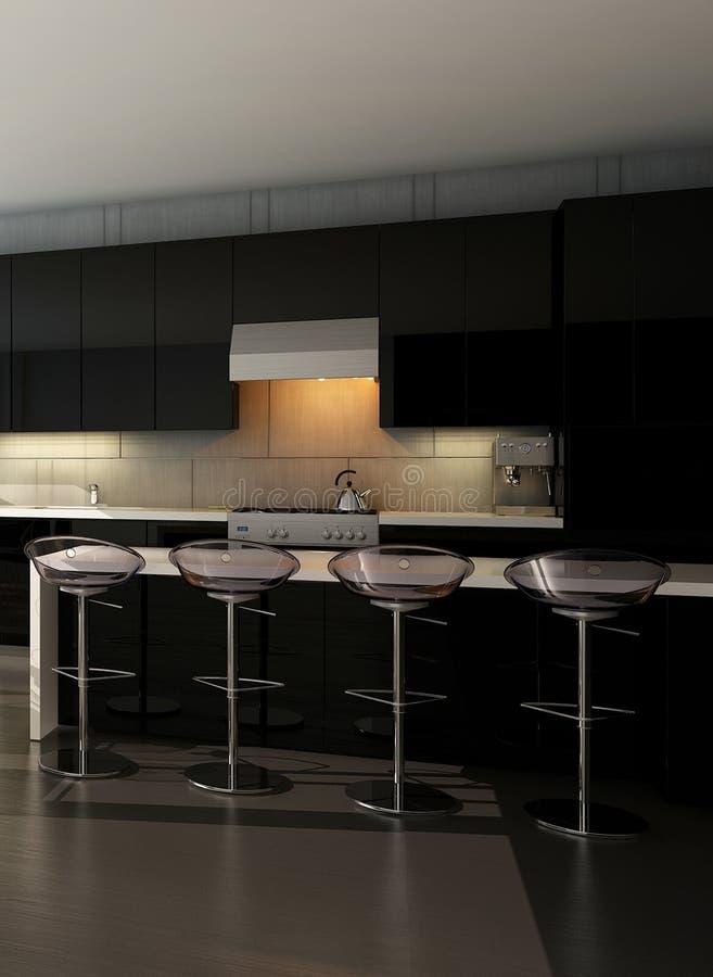 Черный интерьер кухни с барными стулами иллюстрация вектора