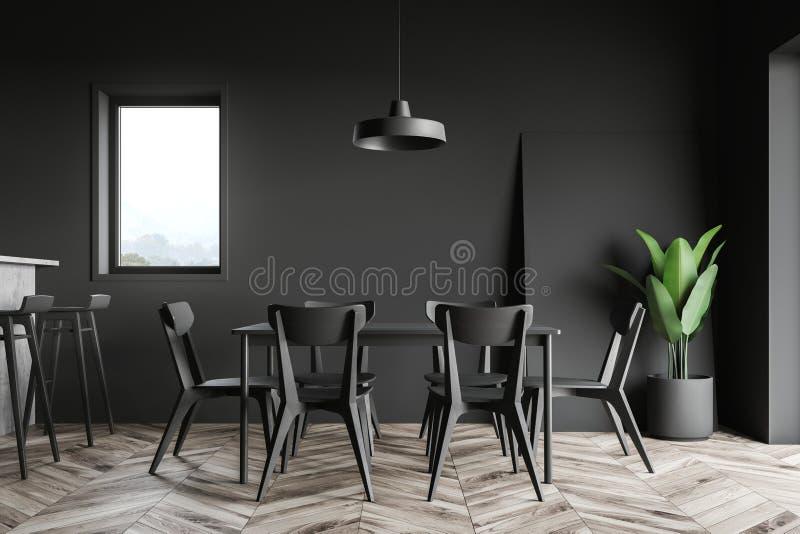 Черный интерьер столовой и кухни иллюстрация штока