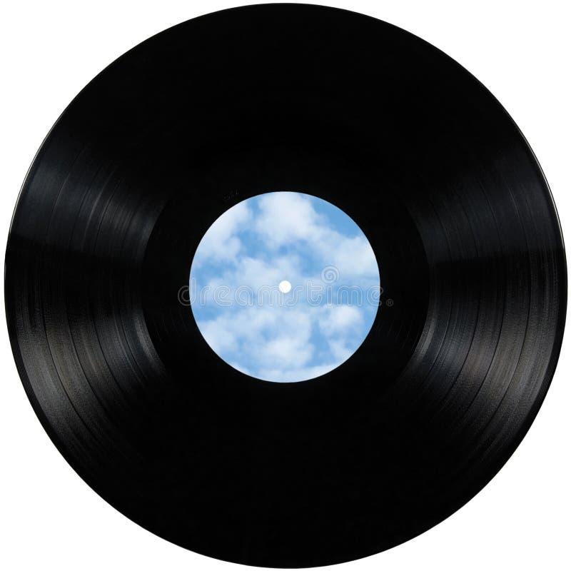 Черный диск альбома lp показателя винила, изолированный диск длинной игры с пустой опорожняет космос экземпляра ярлыка в bule неб стоковые фото