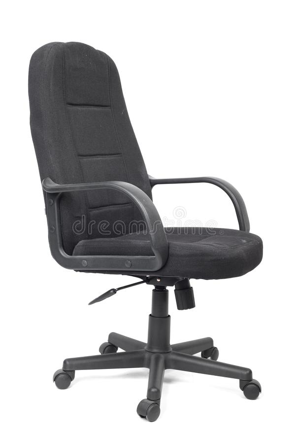 Черный используемый стул офиса ткани стоковая фотография rf
