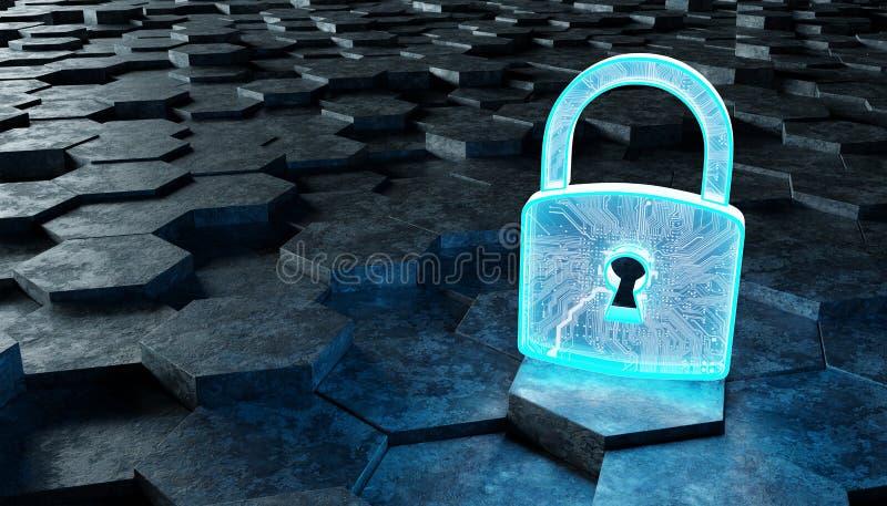 Черный и голубой значок padlock на переводе предпосылки 3D шестиугольников иллюстрация штока