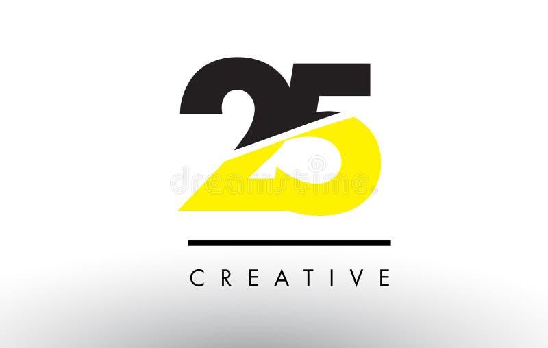 25 черный и желтый дизайн логотипа номера иллюстрация вектора