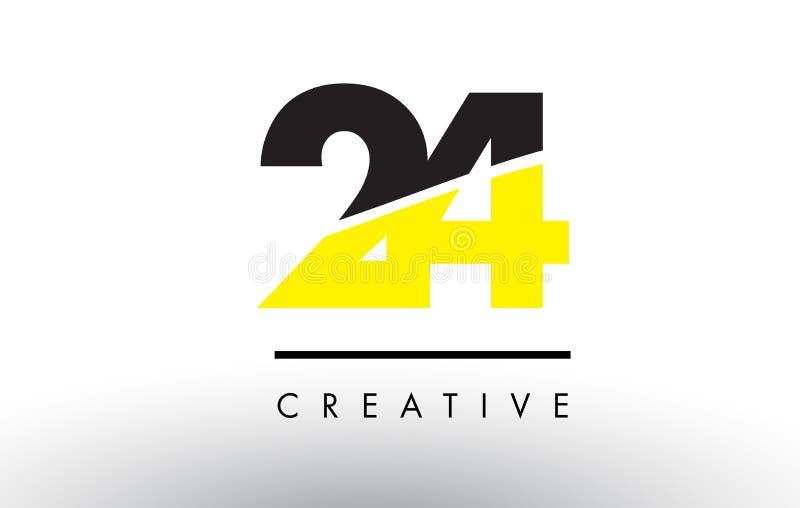 24 черный и желтый дизайн логотипа номера иллюстрация вектора