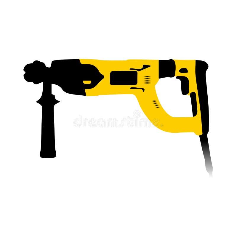 Черный и желтый электрический молоток стоковое изображение