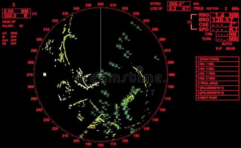 Черный и красный современный экран радара корабля стоковые фотографии rf