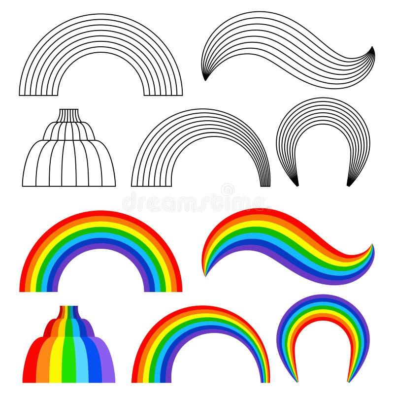 Черный и покрашенный набор радуг иллюстрация штока