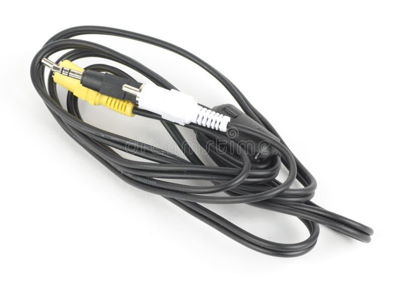 Черный кабель компьютера с соединителями стоковое изображение
