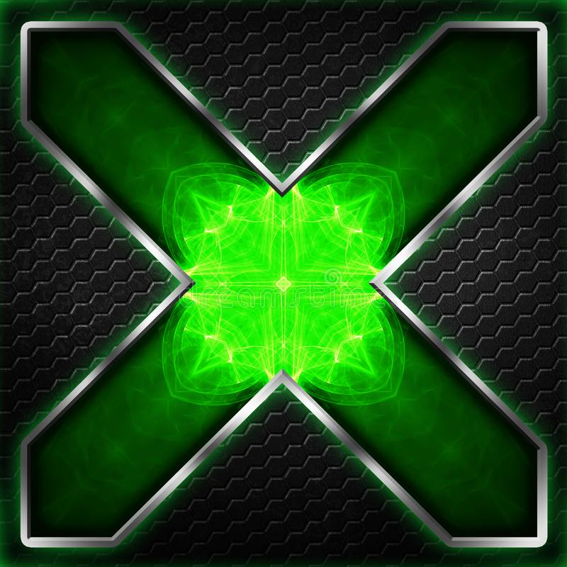 Черный кадр шестиугольника x на зеленом цвете и белом свете иллюстрация вектора