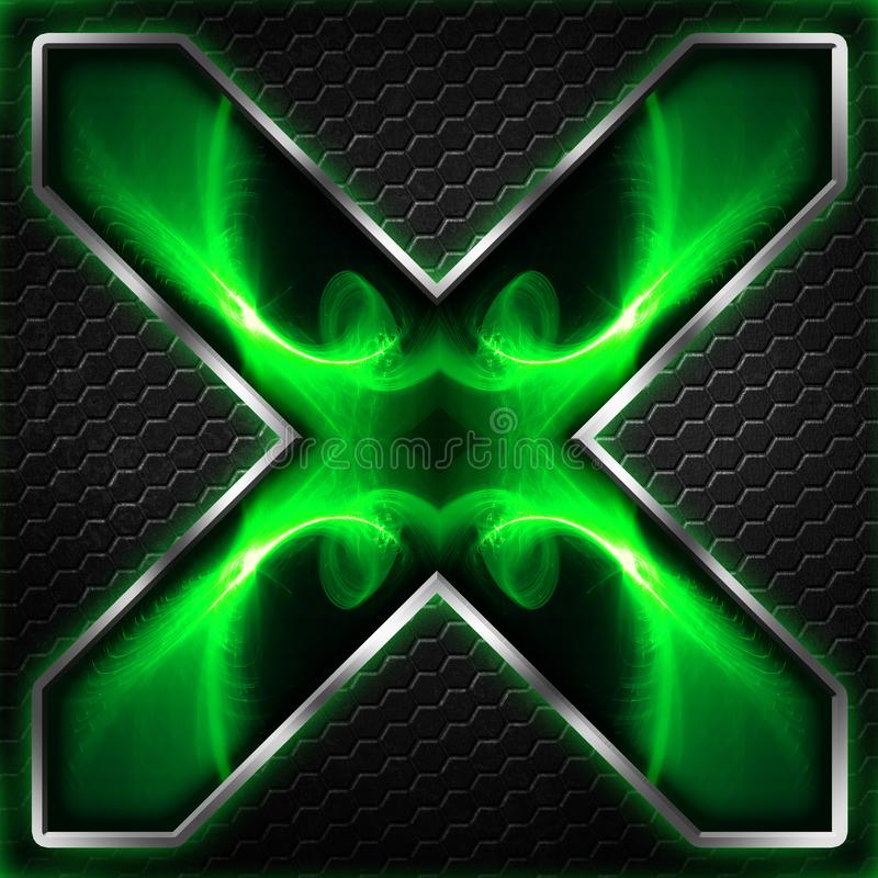 Черный кадр шестиугольника x на зеленом цвете и белом свете иллюстрация штока