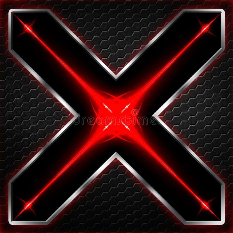 Черный кадр шестиугольника x на красном цвете и белом свете иллюстрация штока