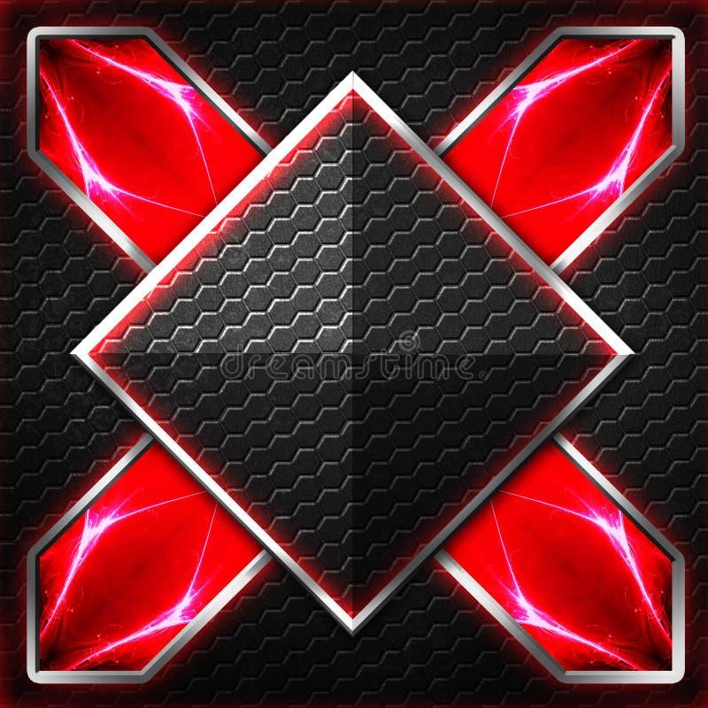 Черный кадр шестиугольника x на красном цвете и белом свете бесплатная иллюстрация