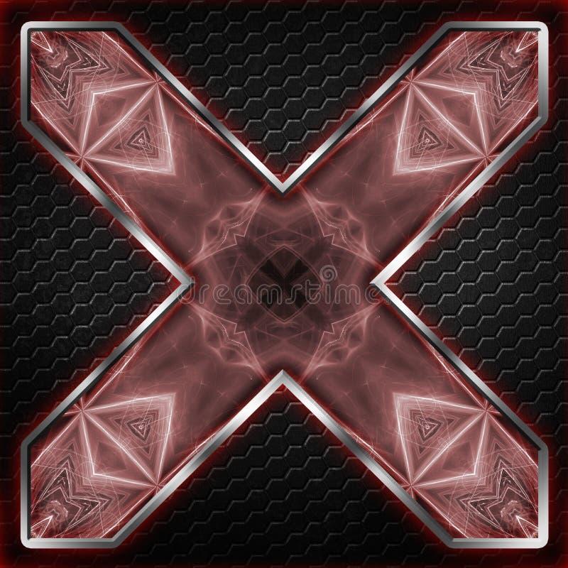 Черный кадр шестиугольника x на красном цвете и белом свете иллюстрация вектора