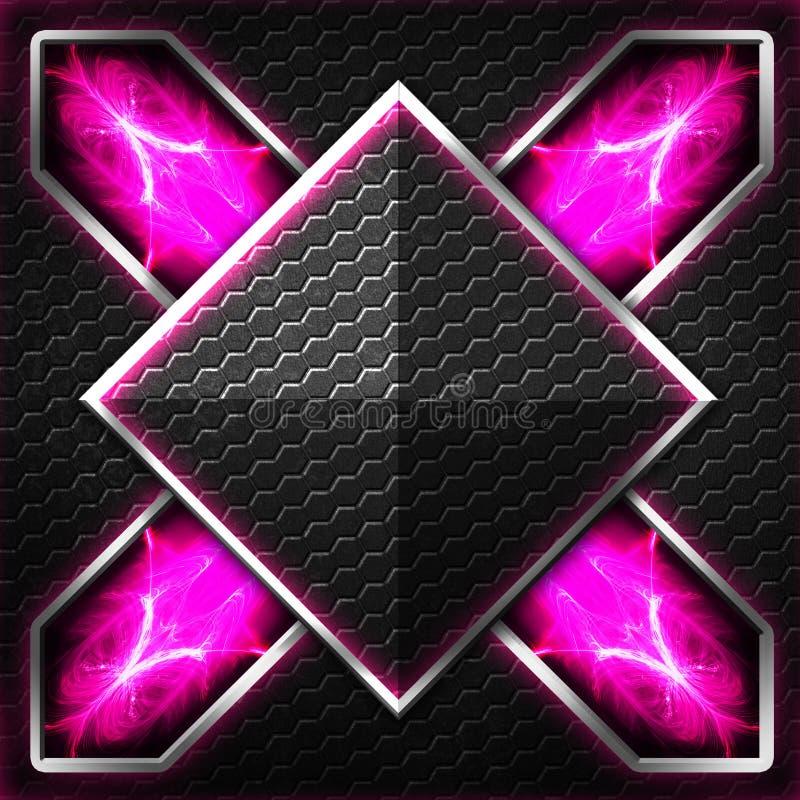 Черный кадр шестиугольника x на пурпуре и белом свете иллюстрация штока