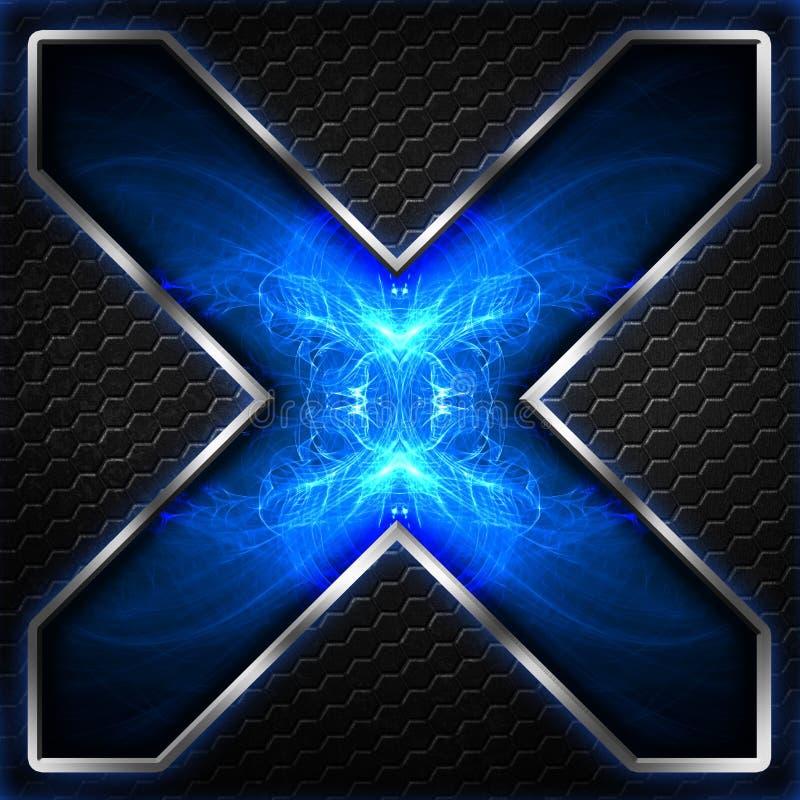 Черный кадр шестиугольника x на сини и белом свете иллюстрация штока