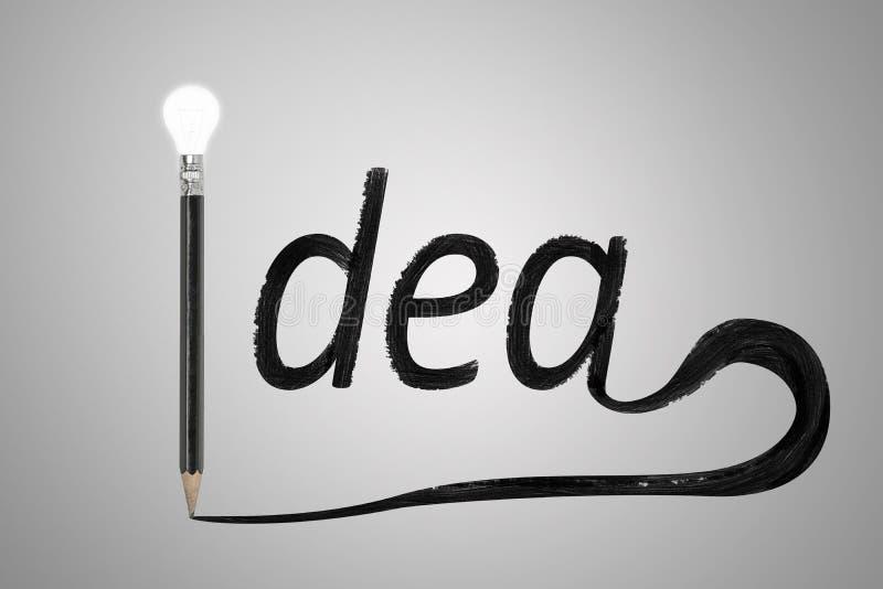 Черный карандаш при яркое написанное слово идеи электрической лампочки стоковое фото rf