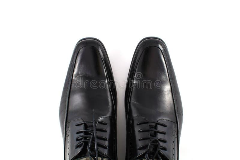 Черный кожаный ботинок человека стоковые изображения rf