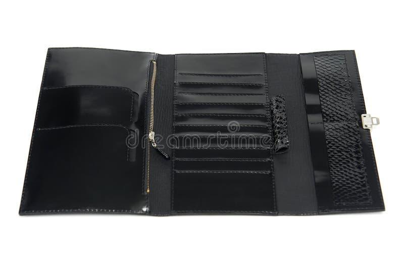 Черный кожаный бумажник glancy с молнией и много разделов стоковая фотография