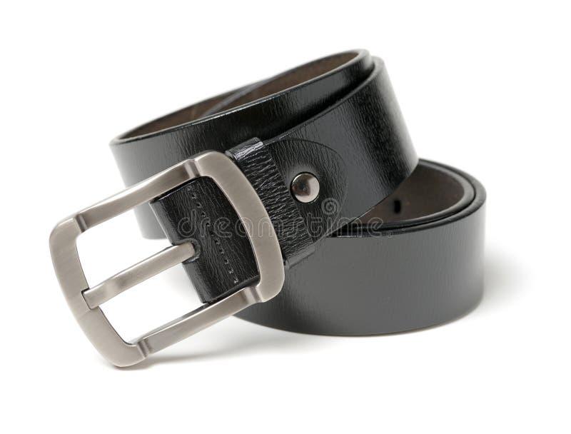 Черный кожаный пояс с пряжкой хрома стоковые изображения rf
