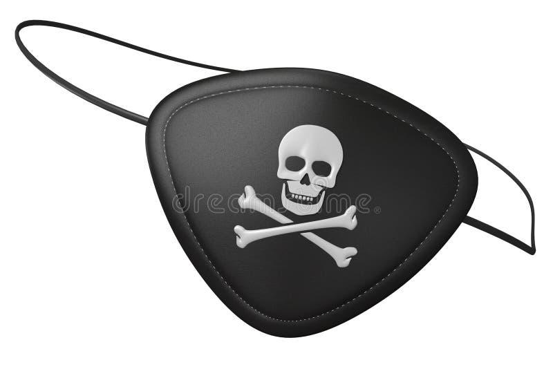 Черный кожаный eyepatch пирата с страшным черепом и кости иллюстрация штока