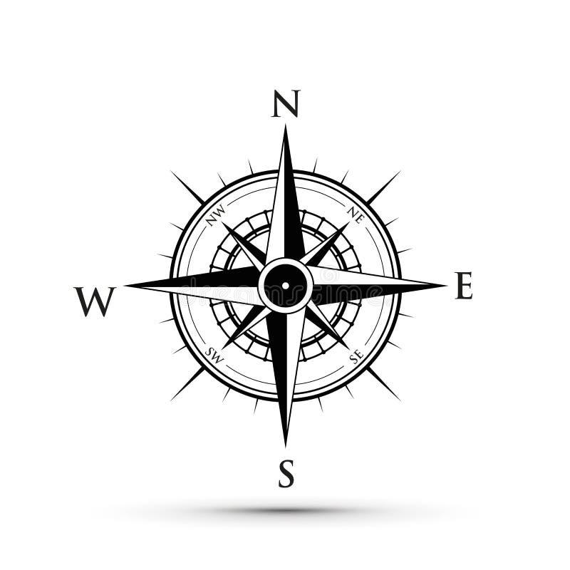 Черный компас иллюстрация вектора