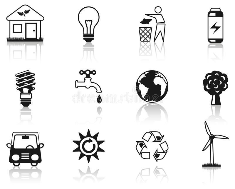 черный комплект иконы окружающей среды иллюстрация вектора