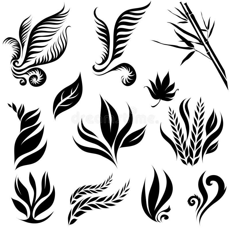 черный комплект листьев иллюстрация вектора