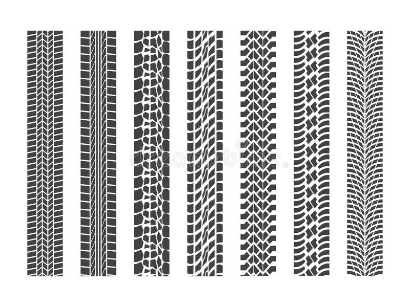 Черный комплект автомобиля колеса следов автошины вектор бесплатная иллюстрация