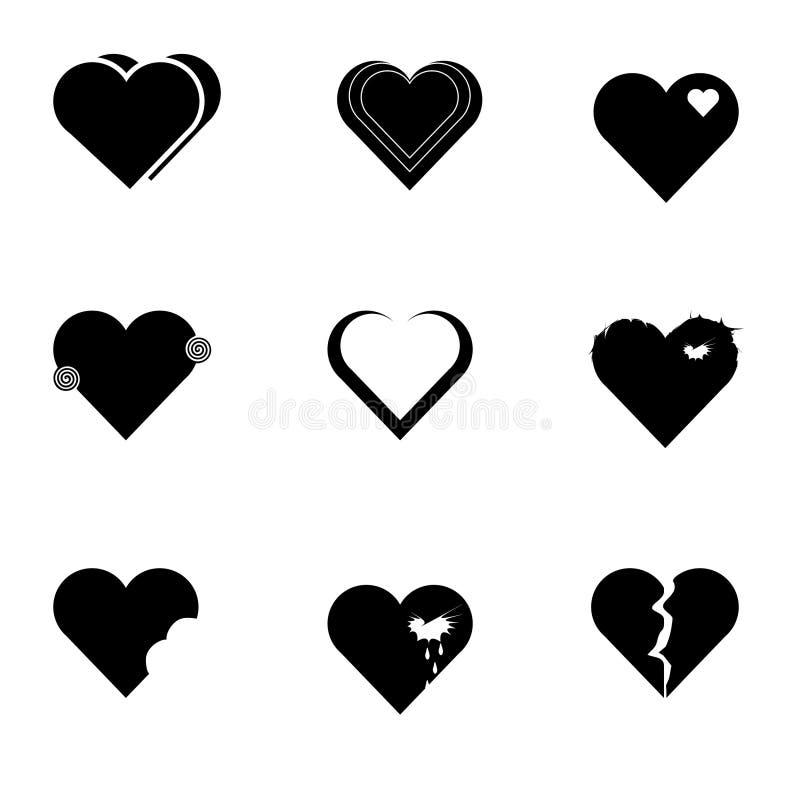 Черный комплект значка сердец стоковые изображения rf