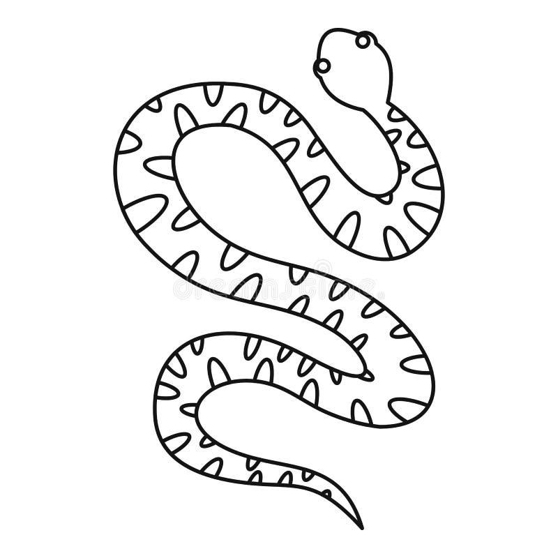 Черный корчась значок змейки, стиль плана иллюстрация штока
