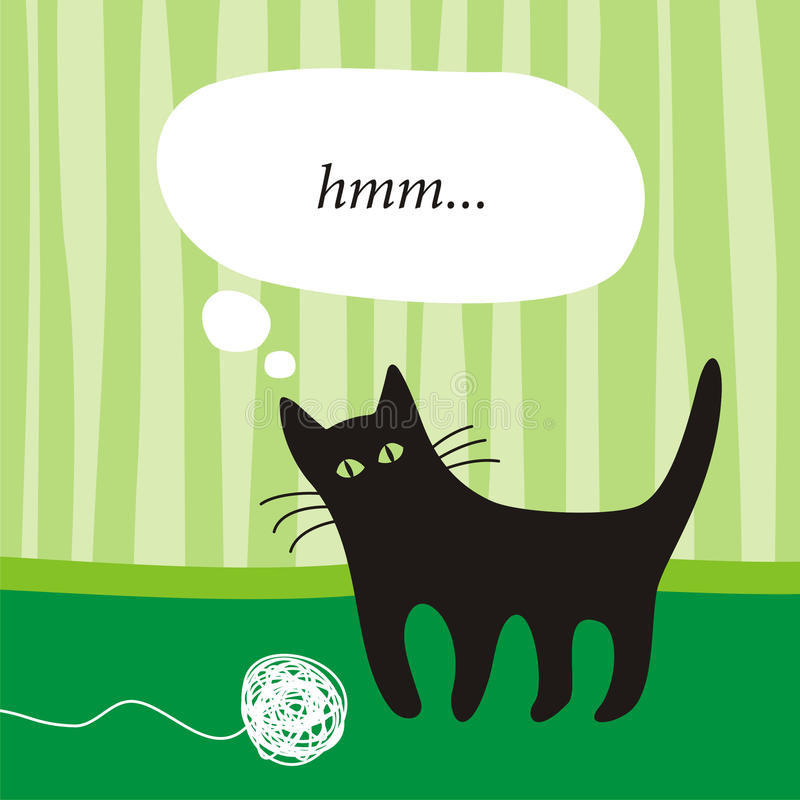 черный котенок иллюстрация штока
