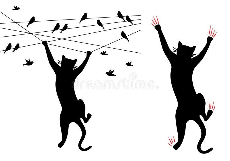 Черный кот взбираясь, птицы на проводе, векторе иллюстрация вектора