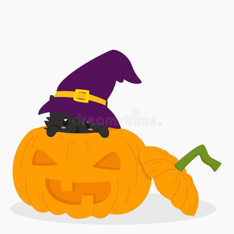 Черный кот внутри вектора тыквы хеллоуина бесплатная иллюстрация
