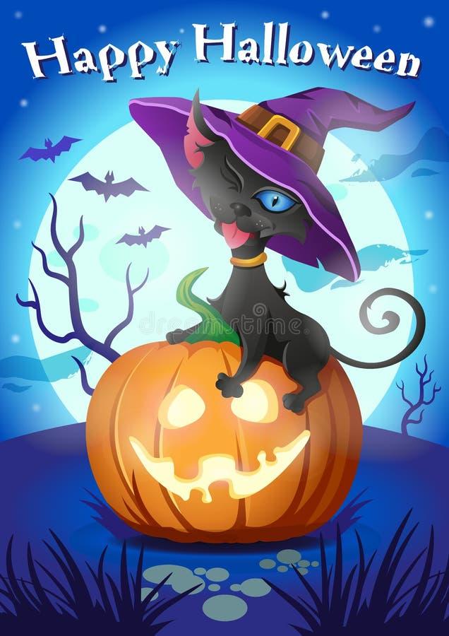 Черный кот в шляпе ведьмы на тыкве хеллоуина - поздравительной открытке вектора шаржа иллюстрация вектора