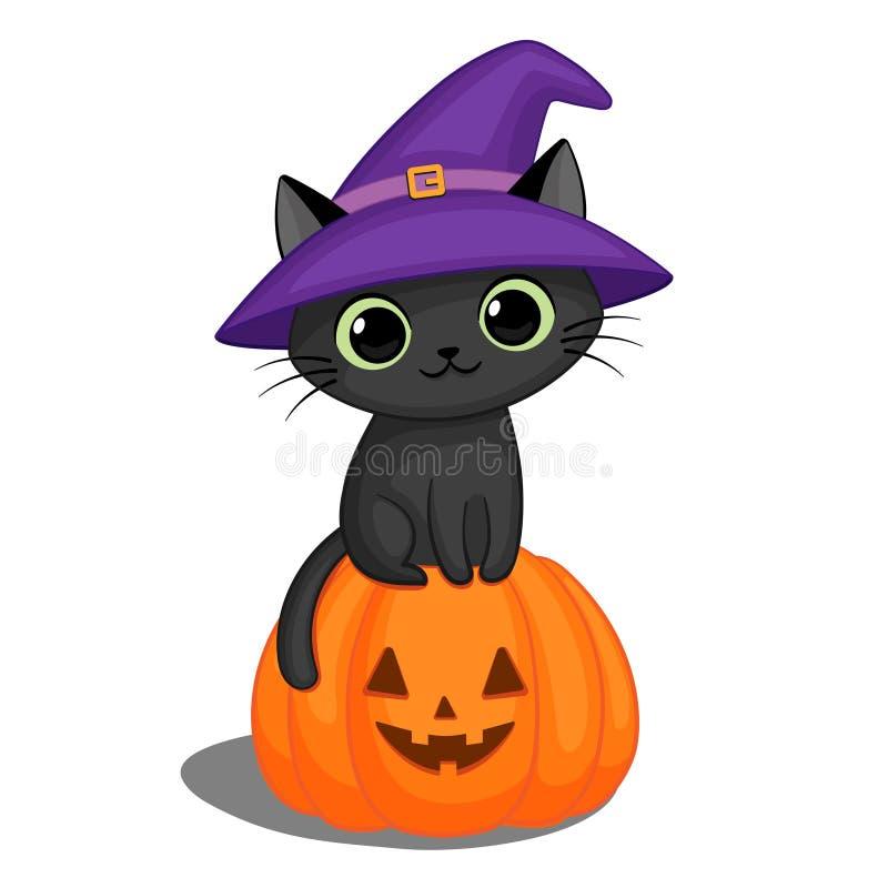Черный кот в шляпе ведьмы на тыкве хеллоуина иллюстрация вектора