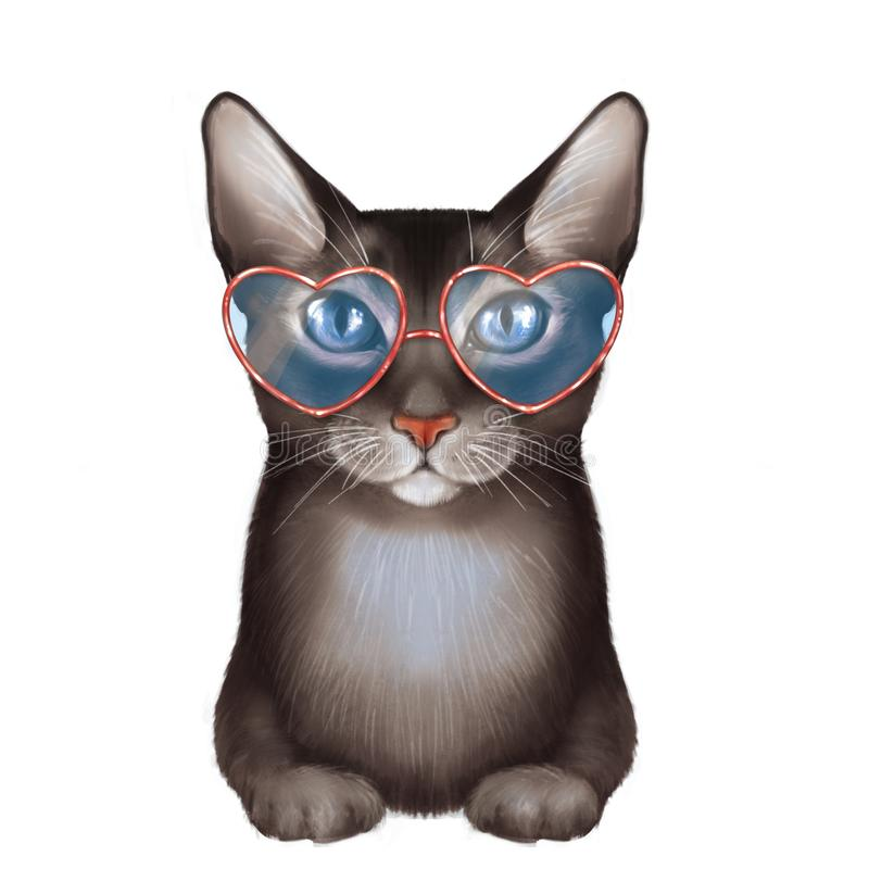 Черный кот, изолированный на белизне иллюстрация штока