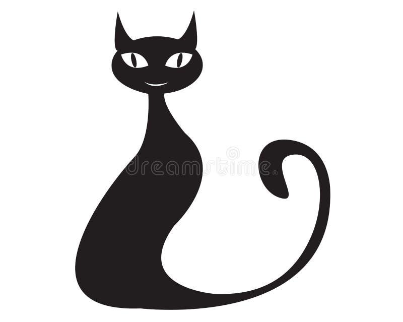 Черный кот плоский с глазами иллюстрация штока