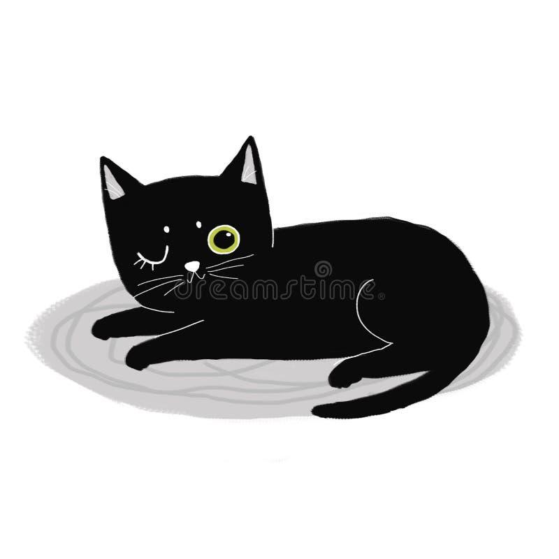 Черный кот подмигивает спать на ковре иллюстрация штока