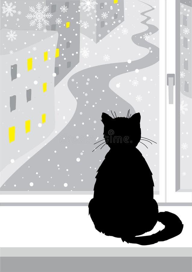 Черный кот сидя окном Серые цвета падая снежок Кот смотрит вне окно на улице Окна освещены бесплатная иллюстрация