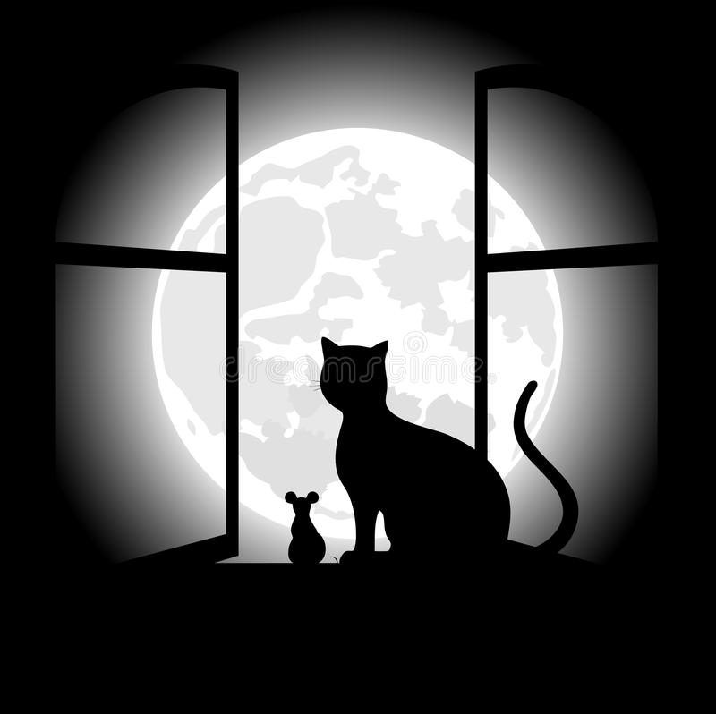 Черный кот сидя напротив луны в ноче хеллоуина иллюстрация вектора