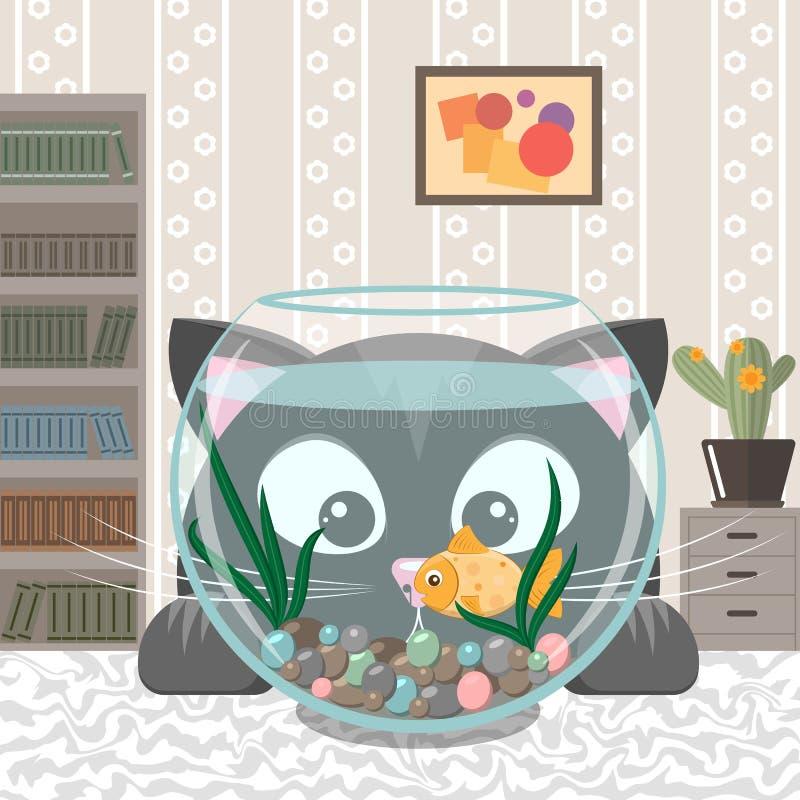 Черный кот смотрит рыб в аквариуме иллюстрация вектора