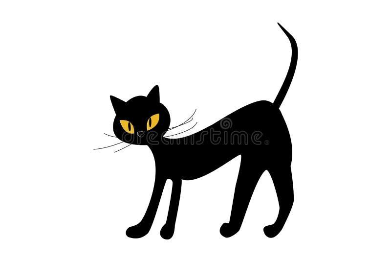 Черный кот с желтыми глазами изолировать на белизне r иллюстрация штока
