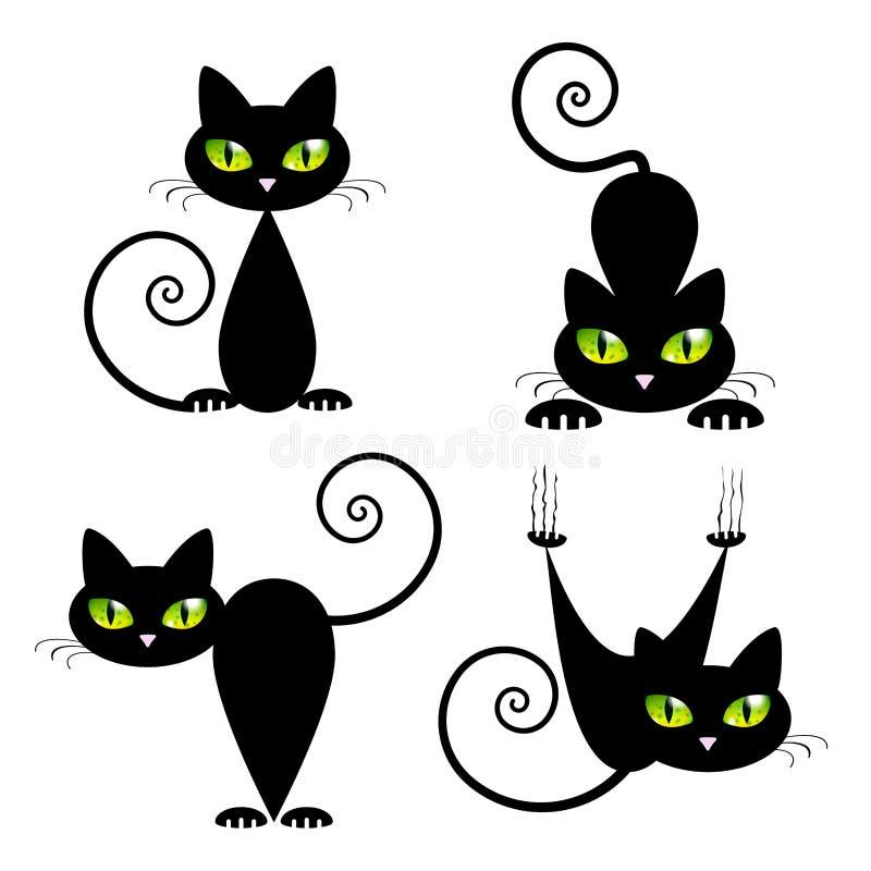 Черный кот с зелеными глазами иллюстрация вектора