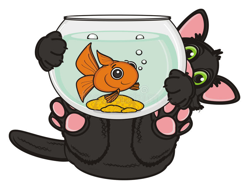 Черный кот с рыбами бесплатная иллюстрация