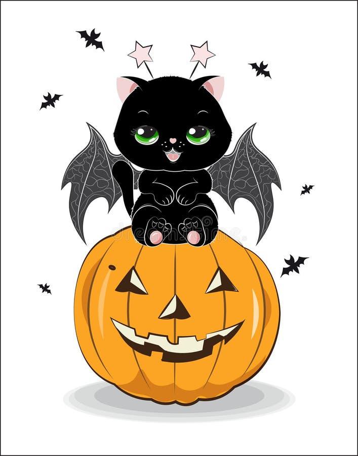 Черный кот хеллоуина бесплатная иллюстрация