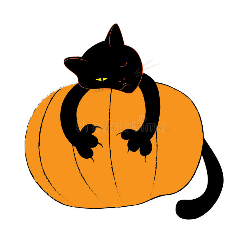 Download Черный кот хеллоуина иллюстрация штока. иллюстрации насчитывающей иллюстрация - 33736497