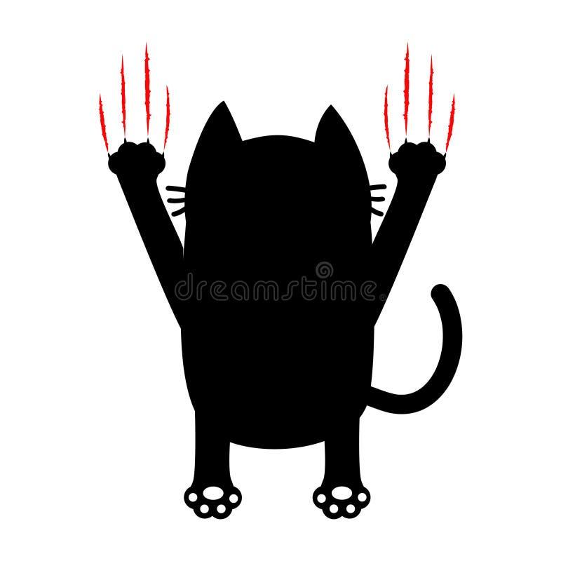 черный кот шаржа задний взгляд След царапины царапины красных кровопролитных когтей животный Милый смешной характер Белая предпос бесплатная иллюстрация