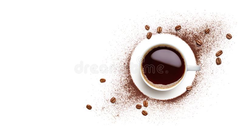 Черный кофе, кофейные зерна и порошок кофе стоковое фото rf