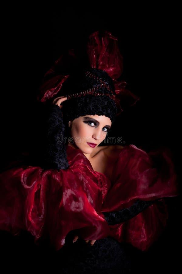 черный красный цвет femme fatale платья стоковая фотография rf