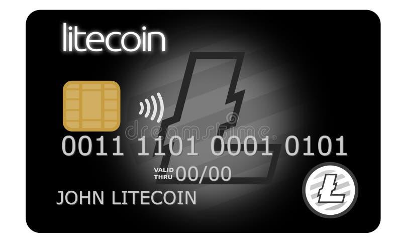 Черный кредит или кредитная карточка litecoin иллюстрация штока